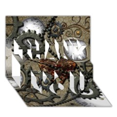 Steampunk With Clocks And Gears And Heart THANK YOU 3D Greeting Card (7x5)