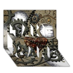 Steampunk With Clocks And Gears And Heart Take Care 3d Greeting Card (7x5)