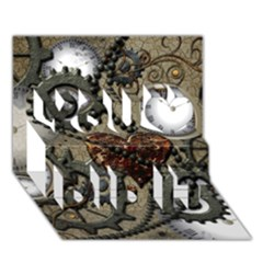 Steampunk With Clocks And Gears And Heart You Did It 3D Greeting Card (7x5)
