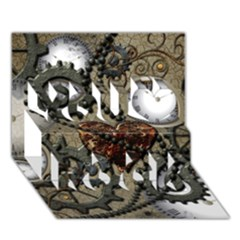 Steampunk With Clocks And Gears And Heart You Rock 3d Greeting Card (7x5)