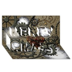 Steampunk With Clocks And Gears And Heart Merry Xmas 3d Greeting Card (8x4)