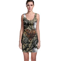 Steampunk With Clocks And Gears And Heart Bodycon Dresses