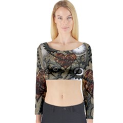 Steampunk With Clocks And Gears And Heart Long Sleeve Crop Top