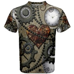 Steampunk With Clocks And Gears And Heart Men s Cotton Tees