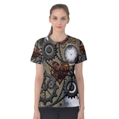 Steampunk With Clocks And Gears And Heart Women s Cotton Tees