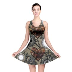 Steampunk With Clocks And Gears And Heart Reversible Skater Dresses