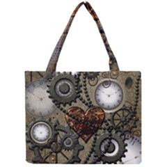 Steampunk With Clocks And Gears And Heart Tiny Tote Bags
