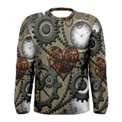 Steampunk With Clocks And Gears And Heart Men s Long Sleeve T-shirts