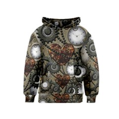 Steampunk With Clocks And Gears And Heart Kid s Pullover Hoodies
