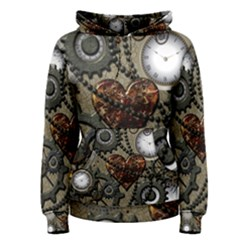 Steampunk With Clocks And Gears And Heart Women s Pullover Hoodies