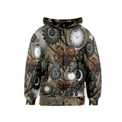 Steampunk With Clocks And Gears And Heart Kids Zipper Hoodies