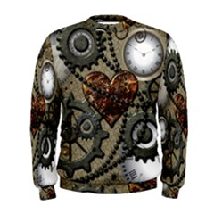 Steampunk With Clocks And Gears And Heart Men s Sweatshirts