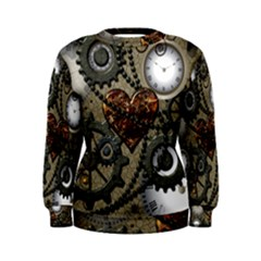 Steampunk With Clocks And Gears And Heart Women s Sweatshirts