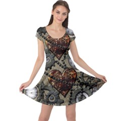 Steampunk With Clocks And Gears And Heart Cap Sleeve Dresses