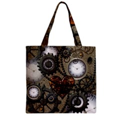 Steampunk With Clocks And Gears And Heart Zipper Grocery Tote Bags