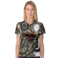 Steampunk With Clocks And Gears And Heart Women s V Neck Sport Mesh Tee