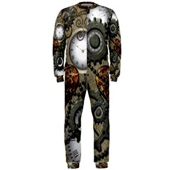 Steampunk With Clocks And Gears And Heart OnePiece Jumpsuit (Men)