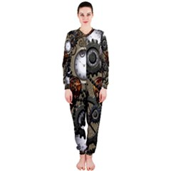Steampunk With Clocks And Gears And Heart OnePiece Jumpsuit (Ladies)