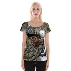 Steampunk With Clocks And Gears And Heart Women s Cap Sleeve Top