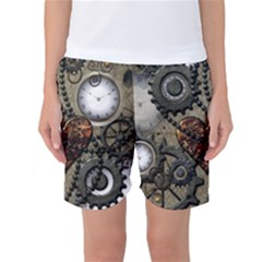 Steampunk With Clocks And Gears And Heart Women s Basketball Shorts