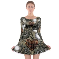 Steampunk With Clocks And Gears And Heart Long Sleeve Skater Dress