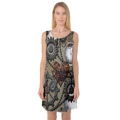 Steampunk With Clocks And Gears And Heart Sleeveless Satin Nightdresses