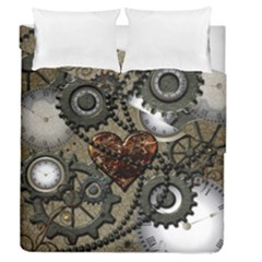 Steampunk With Clocks And Gears And Heart Duvet Cover (full/queen Size)