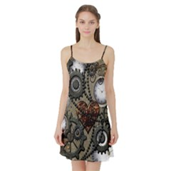 Steampunk With Clocks And Gears And Heart Satin Night Slip
