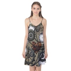 Steampunk With Clocks And Gears And Heart Camis Nightgown