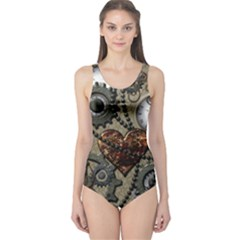 Steampunk With Clocks And Gears And Heart Women s One Piece Swimsuits