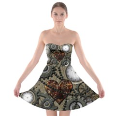 Steampunk With Clocks And Gears And Heart Strapless Bra Top Dress