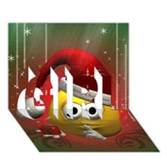 Funny Christmas Smiley Girl 3d Greeting Card (7x5)