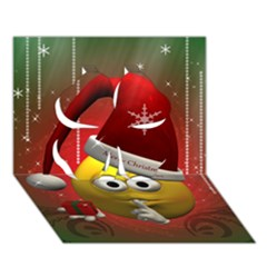 Funny Christmas Smiley Clover 3d Greeting Card (7x5)