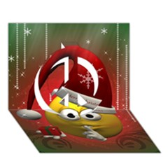 Funny Christmas Smiley Peace Sign 3D Greeting Card (7x5)