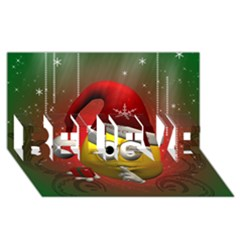 Funny Christmas Smiley BELIEVE 3D Greeting Card (8x4)