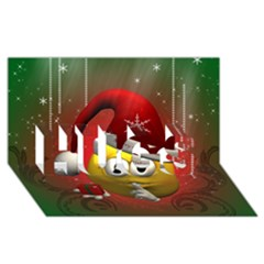 Funny Christmas Smiley Hugs 3d Greeting Card (8x4)