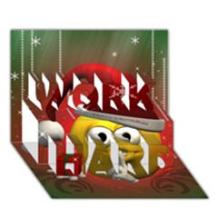 Funny Christmas Smiley WORK HARD 3D Greeting Card (7x5)
