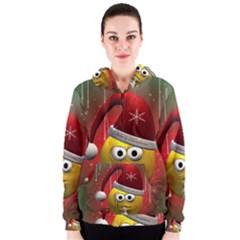 Funny Christmas Smiley Women s Zipper Hoodies