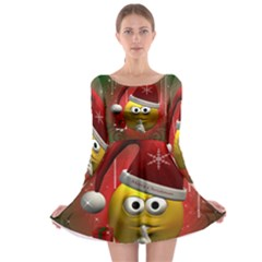 Funny Christmas Smiley Long Sleeve Skater Dress