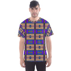 Rectangles And Stripes Pattern Men s Sport Mesh Tee