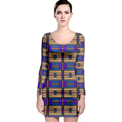Rectangles and stripes pattern Long Sleeve Bodycon Dress
