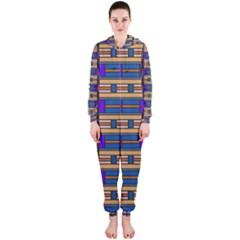 Rectangles and stripes pattern Hooded OnePiece Jumpsuit