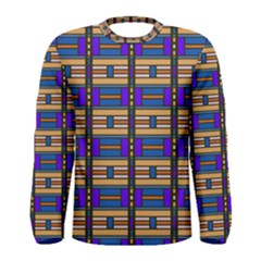 Rectangles And Stripes Pattern Men Long Sleeve T Shirt