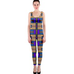Rectangles And Stripes Pattern Onepiece Catsuit