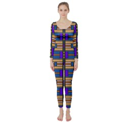Rectangles and stripes pattern  Long Sleeve Catsuit