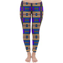 Rectangles And Stripes Pattern Winter Leggings