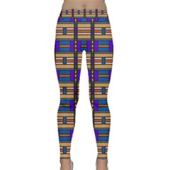 Rectangles And Stripes Pattern Yoga Leggings