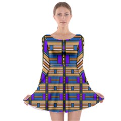 Rectangles and stripes pattern Long Sleeve Skater Dress
