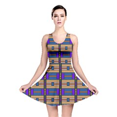 Rectangles And Stripes Pattern Reversible Skater Dress