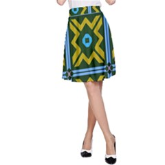 Rhombus in squares pattern A-line Skirt